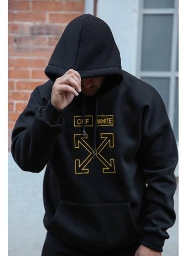 XHAN Siyah Önü Arkası Baskılı Sweatshirt 1Kxe8-44324-02 Siyah